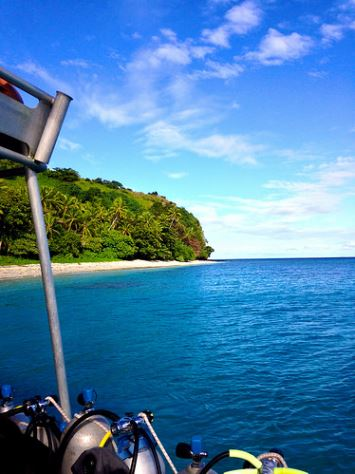 View of the Fiji shore from the dive boat on the Broadreach Shark Studies program