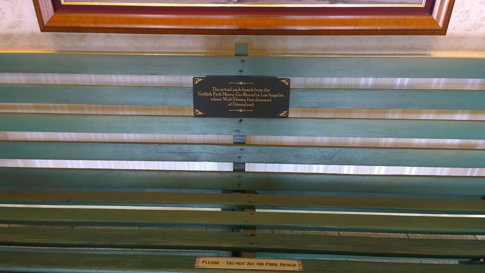 Griffith Park bench where Walt Disney got the idea for Disneyland. Currently on display in the Opera House on Disneyland's Main Street.