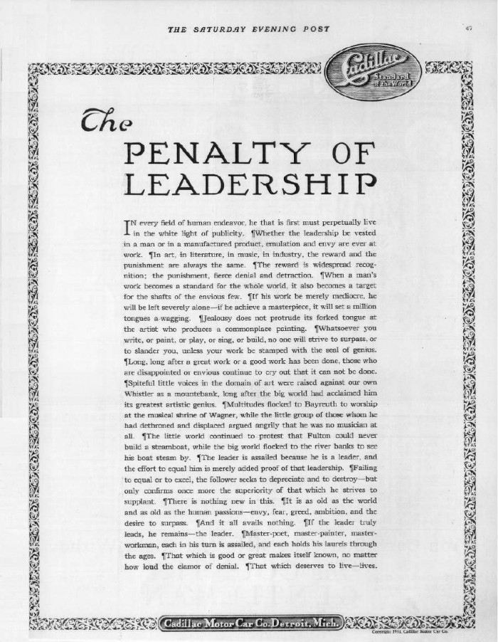 Cadillac -- The Penalty of Leadership Original