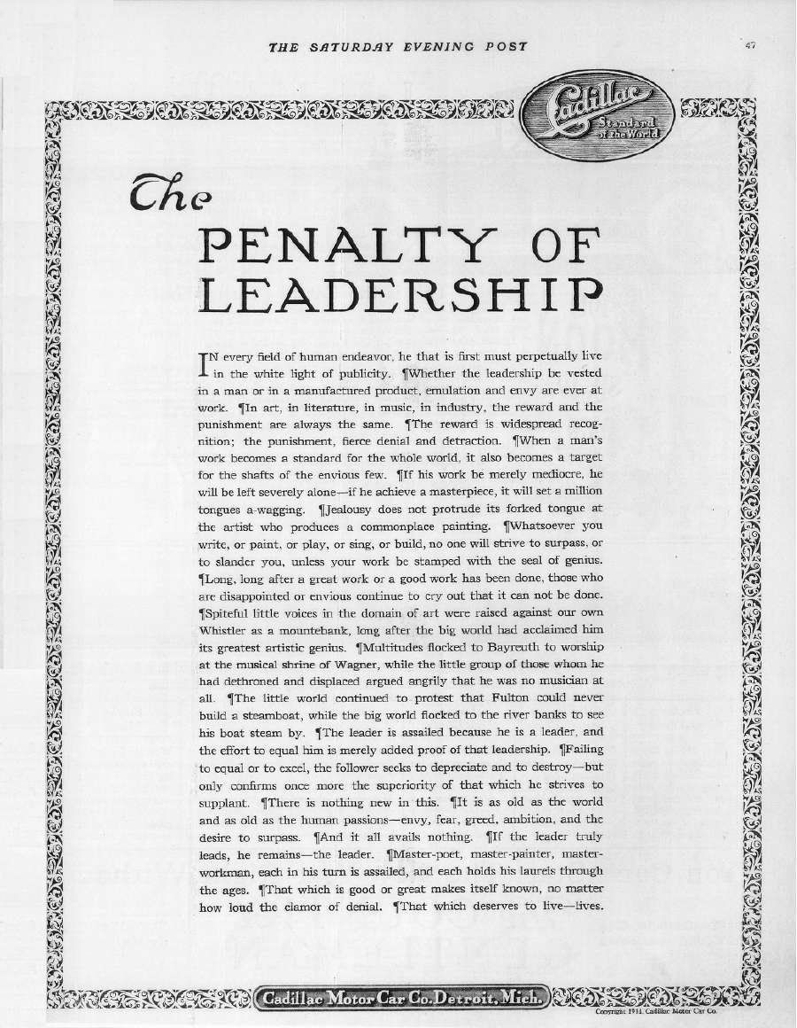 Cadillac -- The Penalty of Leadership Original