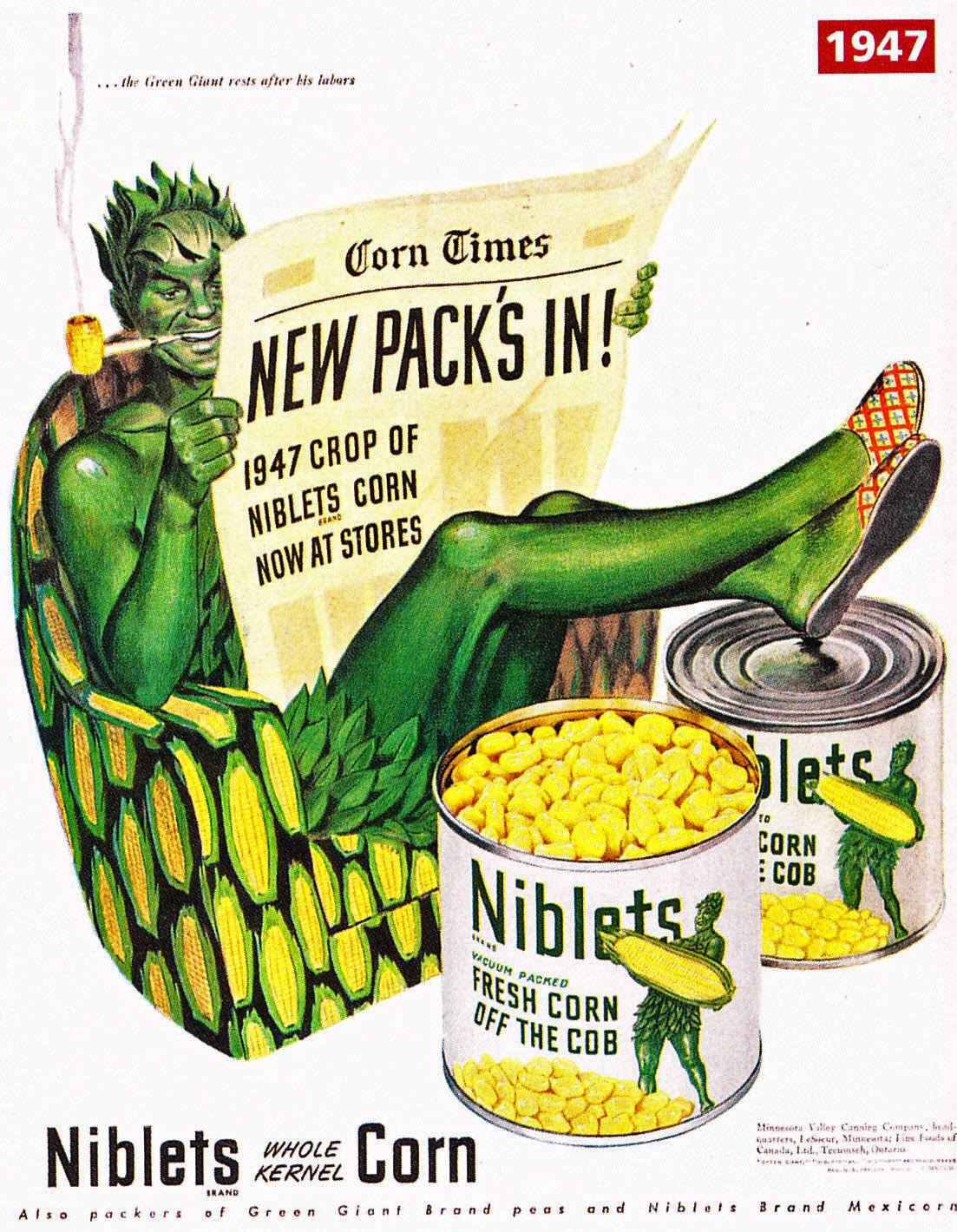 Green Giant La-Z-Boy Magazine Ad 1947