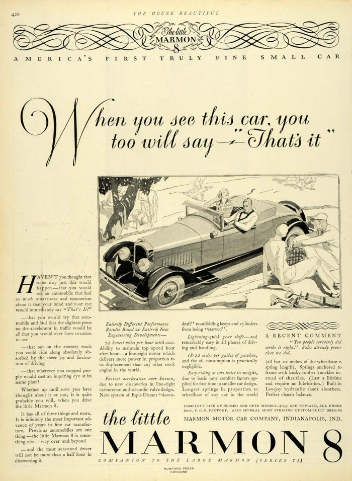 Marmon Automobile Ad 1927