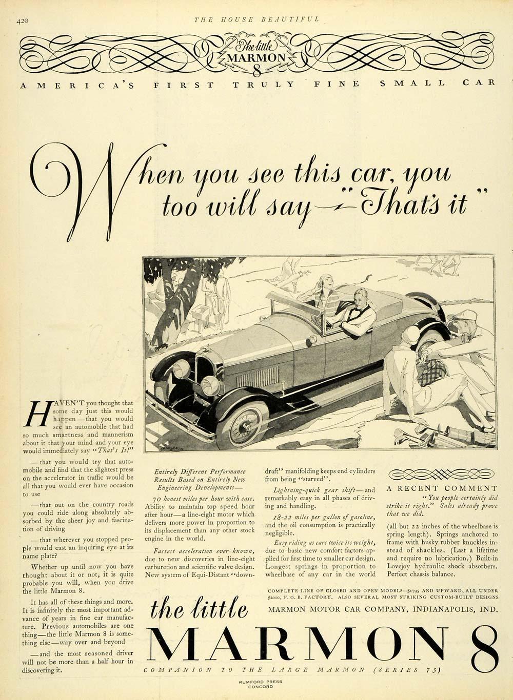 Marmon Automobile Ad 1927