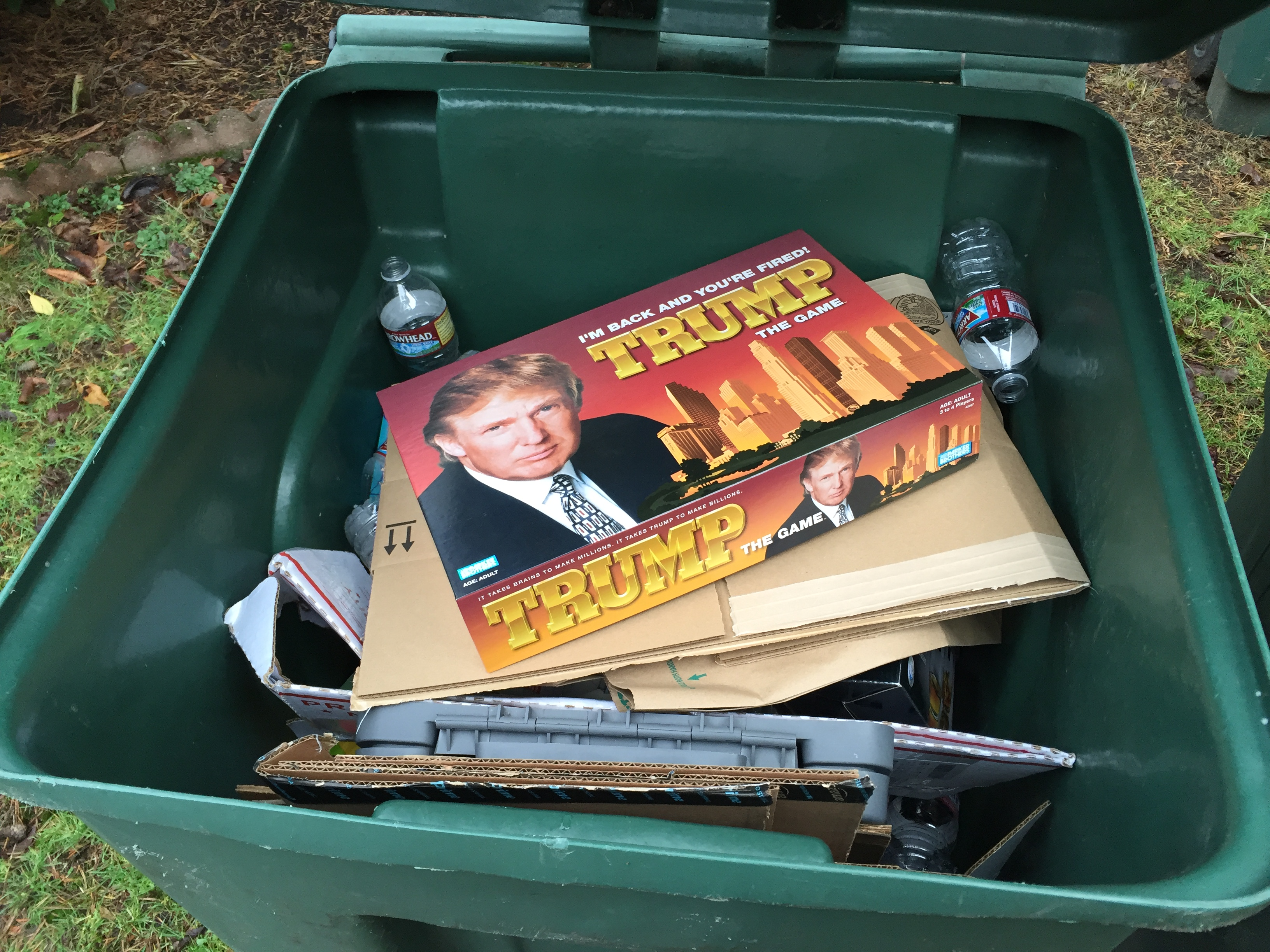 Trump in the Recycle Container