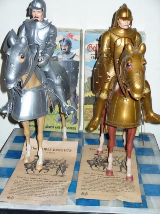 "Marx ""Noble Knights"" figures (pictured here are Sir Gordon the Gold Knight and Sir Stewart the Silver Knight, with their respective horses, Bravo and Valour)"