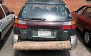 Car with log bumper
