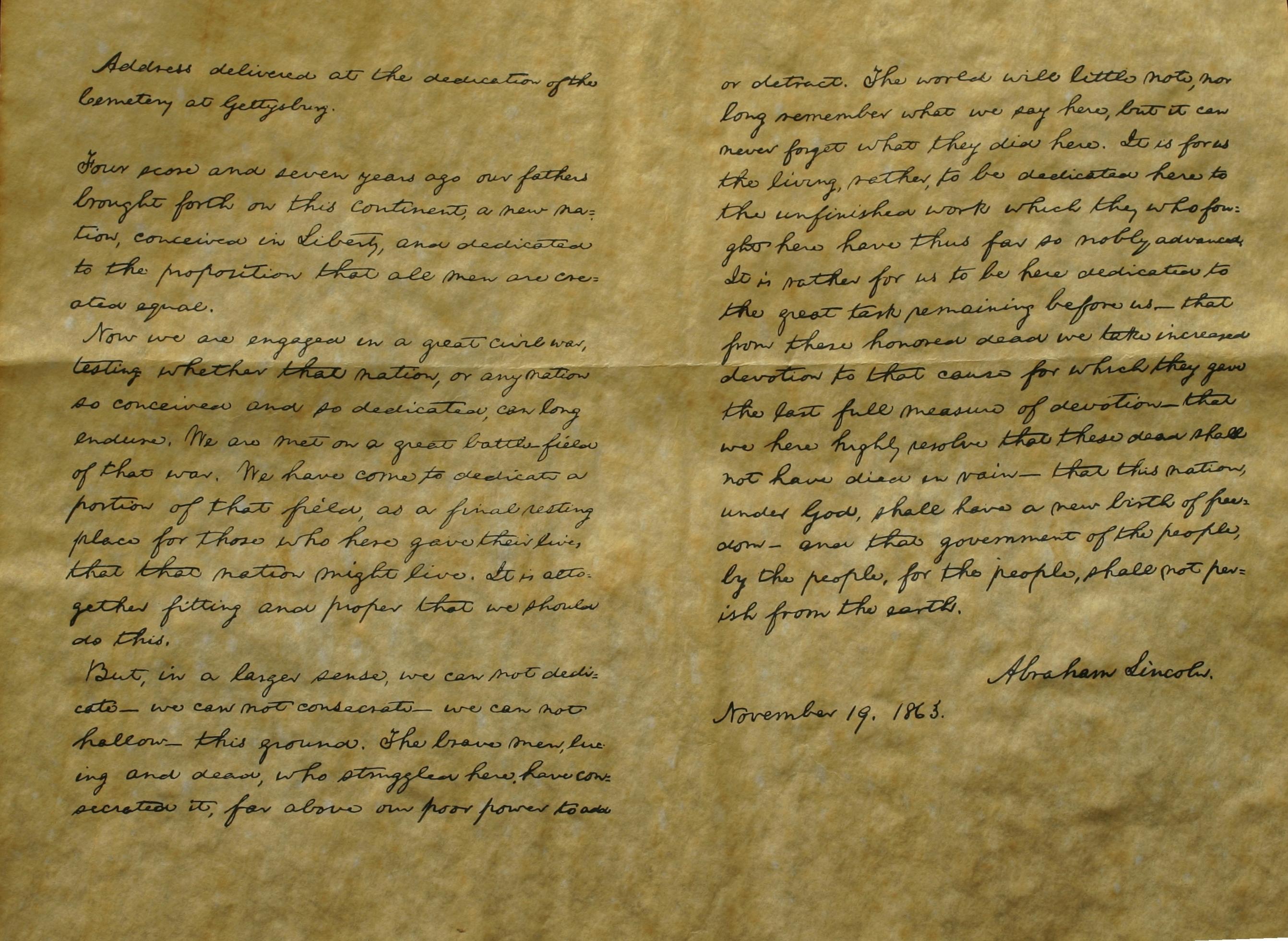 Gettyburg Address Handwritten