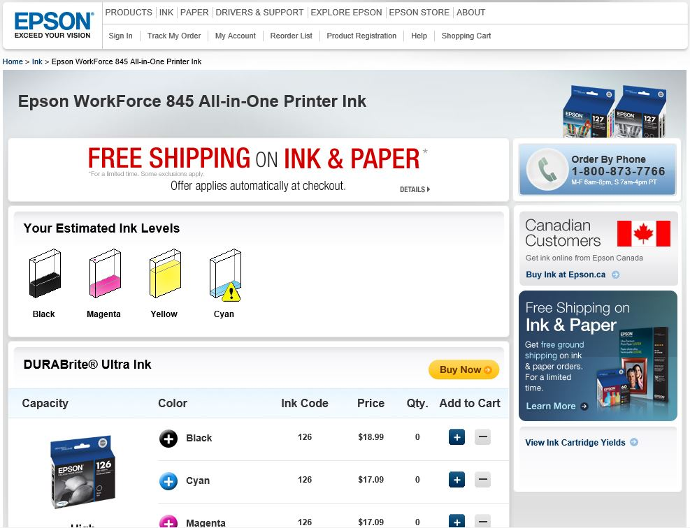 Epson Ink Order Web Page
