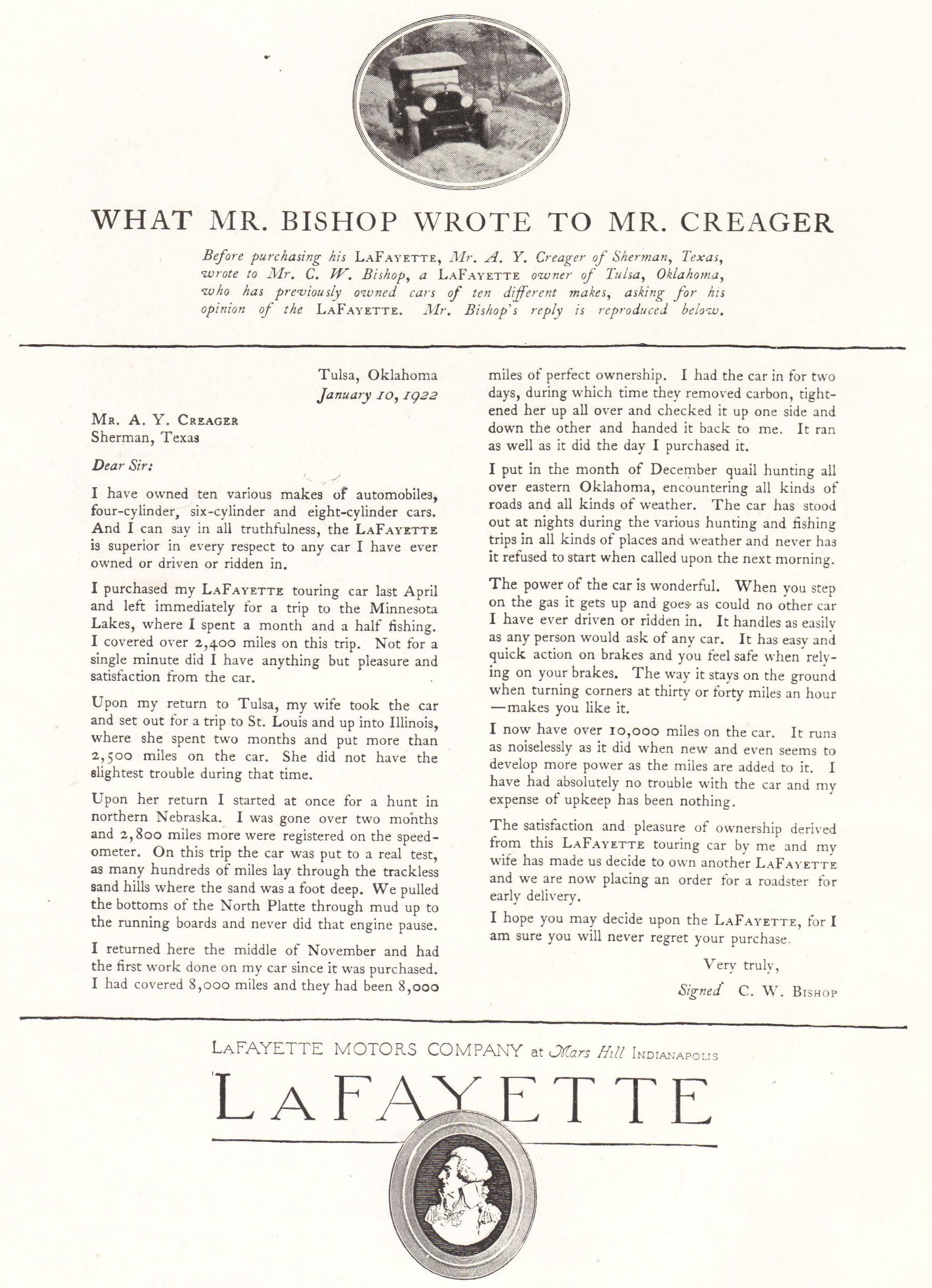 Lafayette Motor Co Advertisement 1921