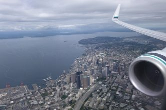 Flying away from Seattle